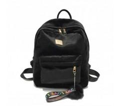 Рюкзак жіночий велюровий чорний
