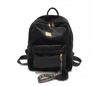 Рюкзак женский велюровый черный