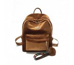 Рюкзак женский велюровый коричневый