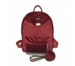 Рюкзак женский велюровый красный