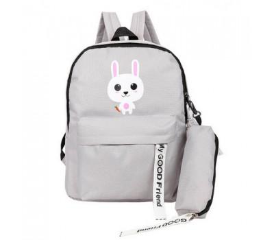 Рюкзак с пеналом школьный Зайчик серый