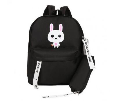 Рюкзак с пеналом школьный Зайчик черный
