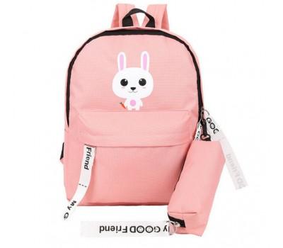 Рюкзак с пеналом школьный Зайчик розовый