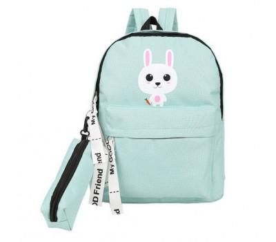 Рюкзак с пеналом школьный Зайчик мятный