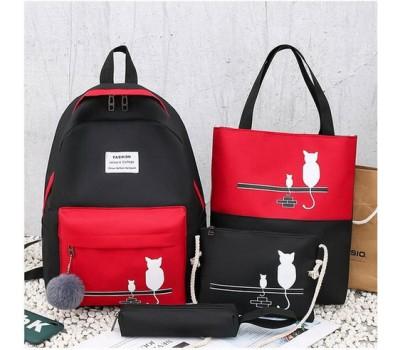 Набор рюкзак,сумки,пенал Кошки черный