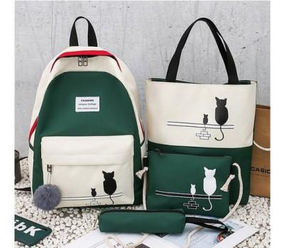 Набор рюкзак,сумки,пенал Кошки зеленый