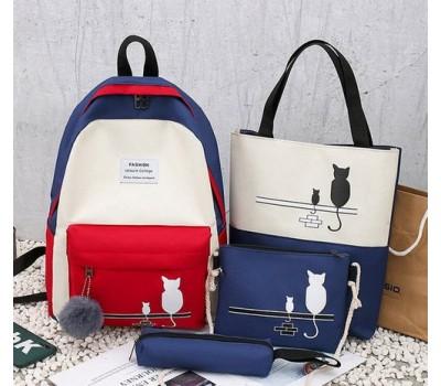 Набор рюкзак,сумки,пенал Кошки синий