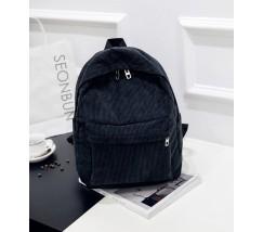 Велюровый вместительный рюкзак черный