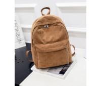 Велюровий місткий рюкзак коричневий