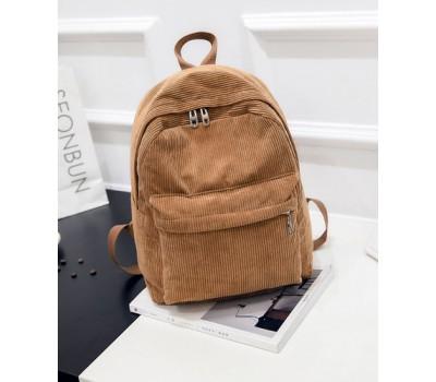 Велюровый вместительный рюкзак коричневый