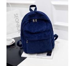 Велюровый вместительный рюкзак синий