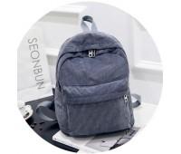 Велюровий місткий рюкзак сірий