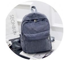 Велюровый вместительный рюкзак серый