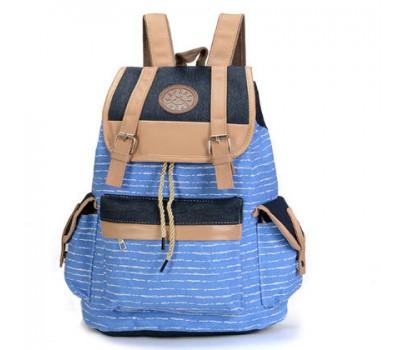 Большой рюкзак в полоску голубой