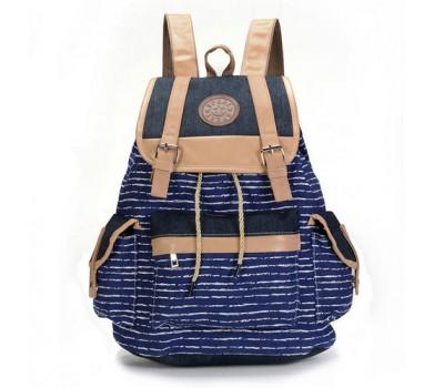 Большой рюкзак в полоску синий
