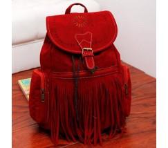Замшевый рюкзак с бахромой красный