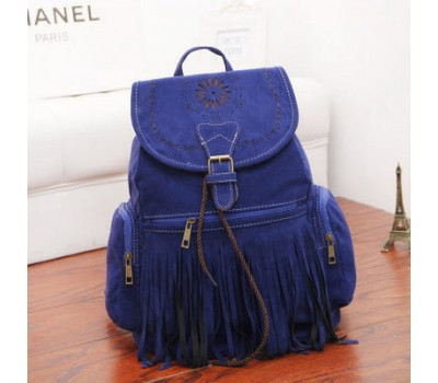 Замшевый рюкзак с бахромой синий