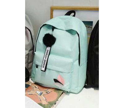 Женский тканевый рюкзак с помпоном мятный
