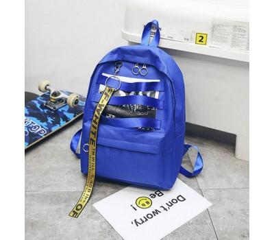 Стильный тканевой рюкзак синий