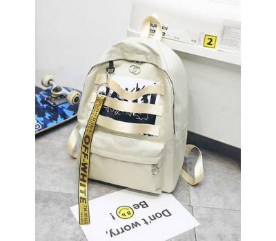 Стильный тканевой рюкзак бежевый
