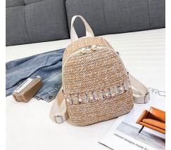 """Женский соломенный рюкзак """"Жемчужина"""" коричневый"""