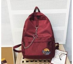 Тканевой рюкзак с цепочкой бордовый