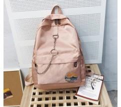 Тканевой рюкзак с цепочкой розовый