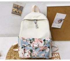 Текстильный рюкзак белый с голубым узором