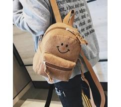 Рюкзак вельветовый со смайликом коричневый