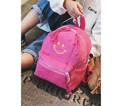 Рюкзак вельветовый со смайликом малиновый