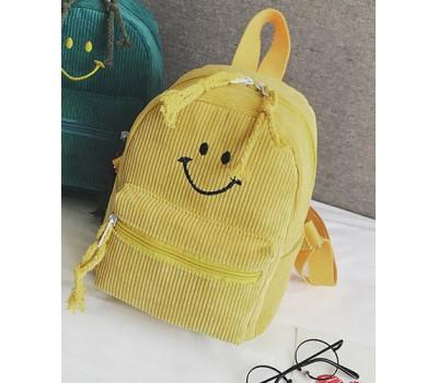 Рюкзак вельветовый со смайликом желтый