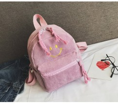 Рюкзак вельветовый со смайликом розовый