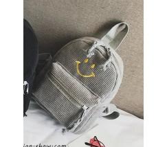 Рюкзак вельветовый со смайликом серый