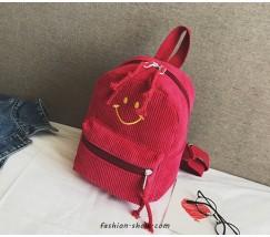 Рюкзак вельветовый со смайликом красный