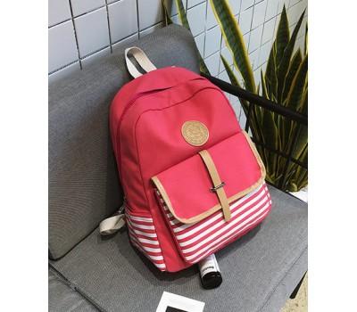 Красный тканевый рюкзак в полоску