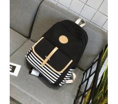 Черный тканевый рюкзак в полоску