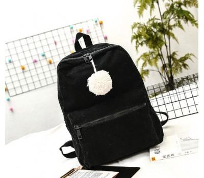 Большой велюровый рюкзак черный