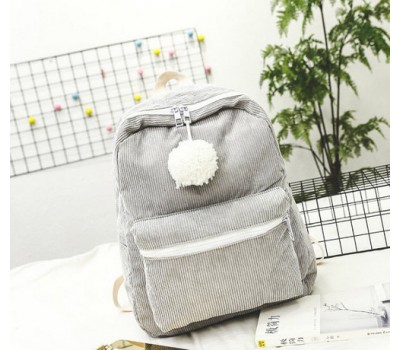 Большой велюровый рюкзак серый