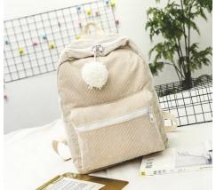 Большой велюровый рюкзак бежевый