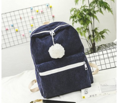 Великий велюровий рюкзак синій
