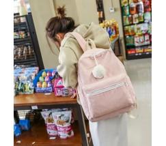 Большой велюровый рюкзак розовый