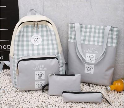 Набор 4в1 рюкзак, сумка, косметичка, пенал серый