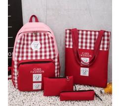 Набор 4в1 рюкзак, сумка, косметичка, пенал красный
