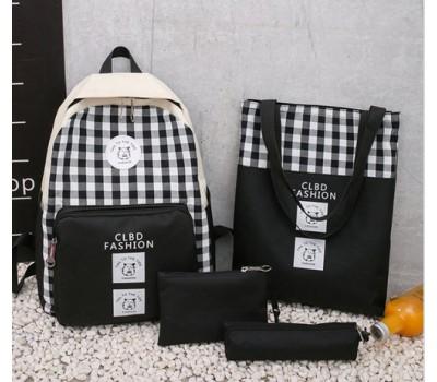 Набор 4в1 рюкзак, сумка, косметичка, пенал черный