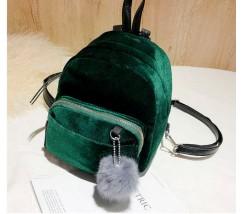 Маленький бархатный рюкзак зеленый