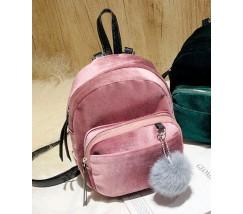 Маленький бархатный рюкзак розовый