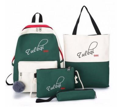 Рюкзак с ткани в наборе 4в1 зелено-белый