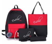 Рюкзак с ткани в наборе 4в1 черно-красный