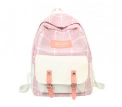 Большой тканевой рюкзак с ткани розовый