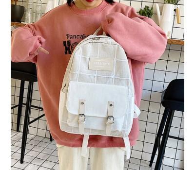 Большой тканевой рюкзак с ткани бежевый